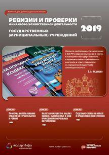 Ревизии и проверки финансово-хозяйственной деятельности государственных (муниципальных) учреждений №6 2019