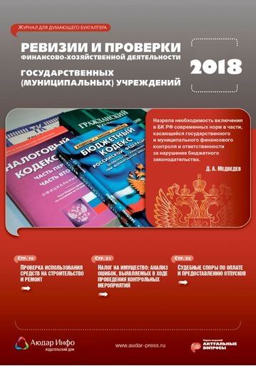 Ревизии и проверки финансово-хозяйственной деятельности государственных (муниципальных) учреждений №6 2018